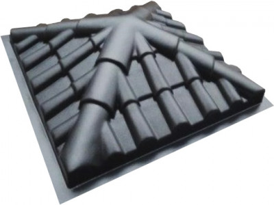 "Форма для крышки столба "" Черепица четырехскатная "" Размеры: 450x450x130 мм"
